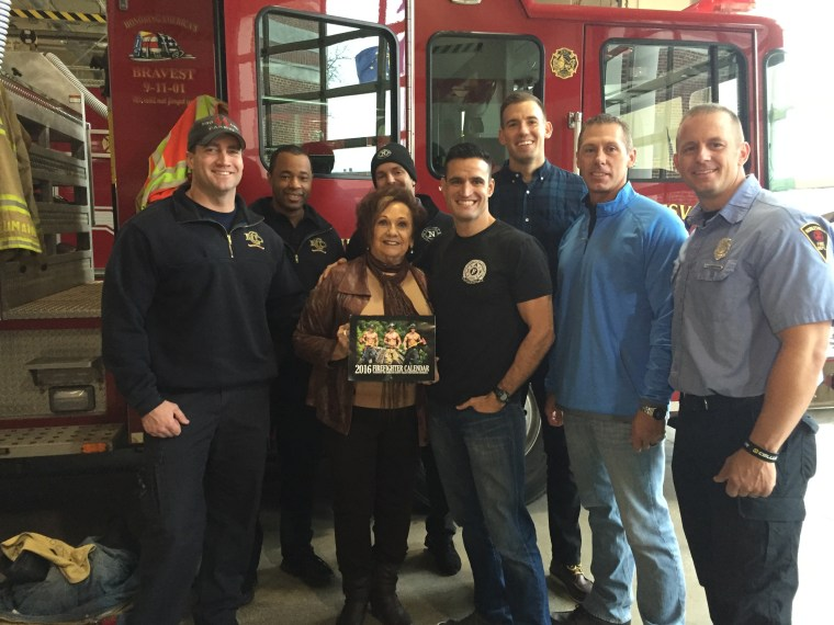 Davis, meeting with several of the Indiana firefighters featured in the calendar.