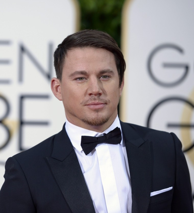Channing Tatum arrives for the 73rd Annual Golden Globe Awards