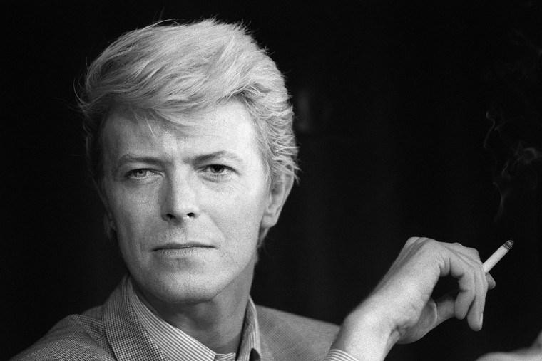 Image: British singer David Bowie during a press conference in May 1983