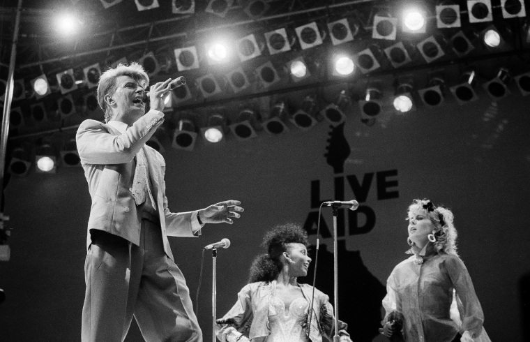 Image: David Bowie performs on stage at London's Wembley Stadium on July 13, 1985.