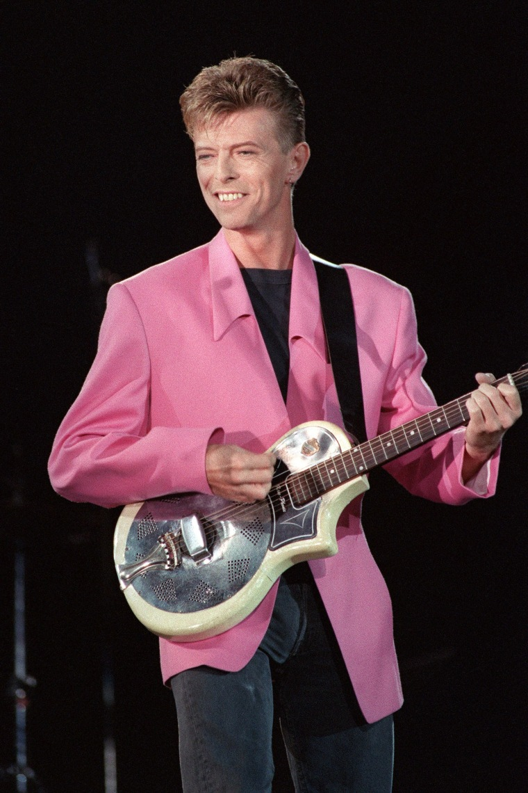 Image: Bowie performs on stage during a concert in Paris on Sept. 21, 1991.