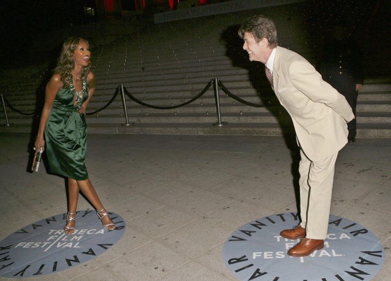 Image: Iman and Bowie laugh as they arrive at the Vanity Fair Tribeca Film Festival Party on April 24, 2007