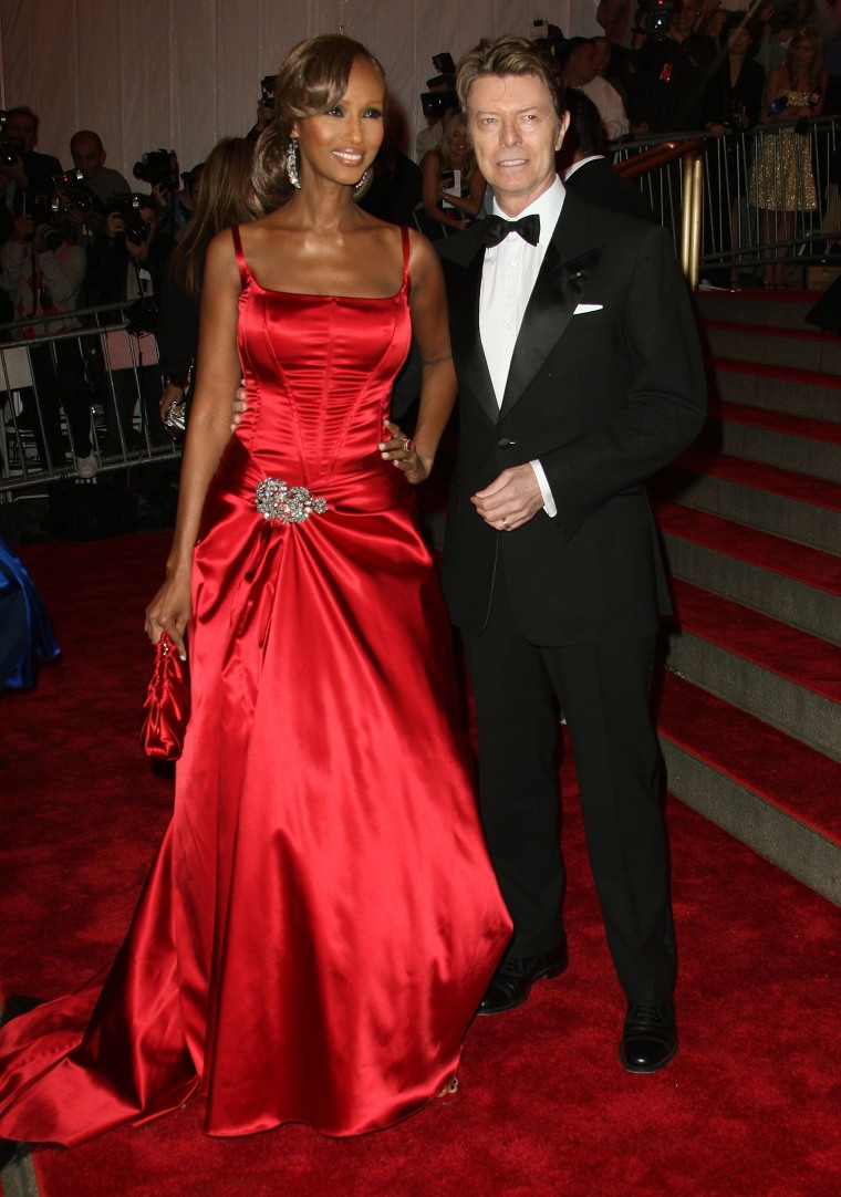 Image: Iman and Bowie arrive at the Metropolitan Museum of Art Costume Institute Gala on May 5, 2008