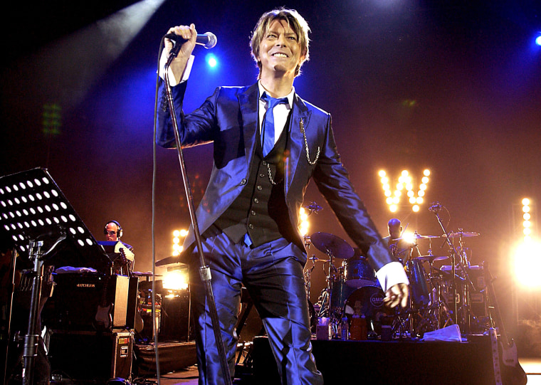 Image: Bowie performs at the Hammersmith Appollo in London on Oct. 3, 2002.