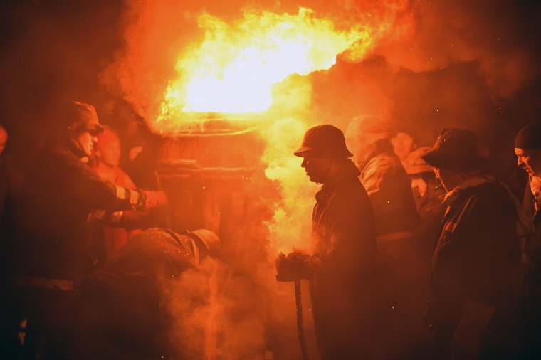 Image: The New Year Is Greeted With The Traditional Burning Of The Clavie