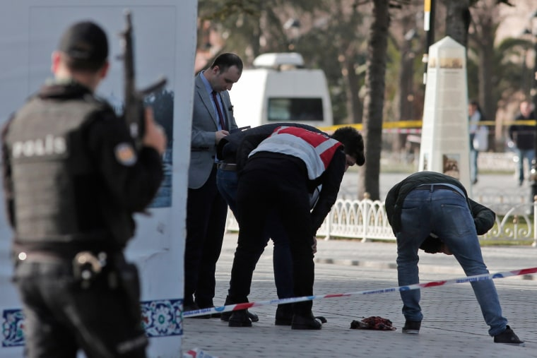 Image: Police search the area at the historic Sultanahmet district