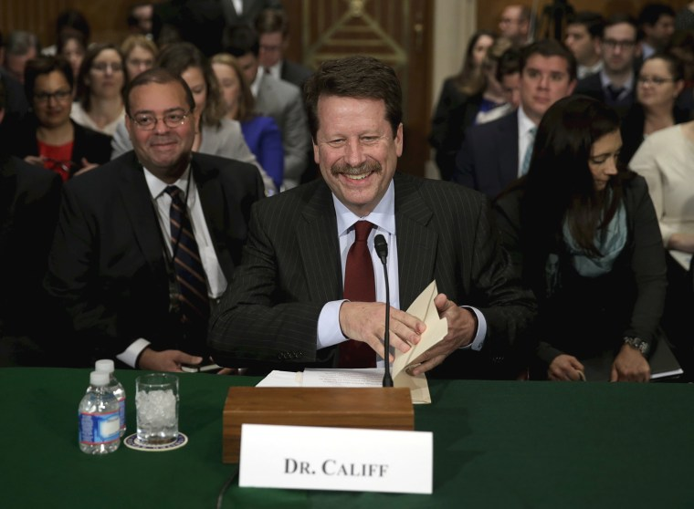 Image: FDA Commissioner nominee Califf arrives to testify a hearing in Washington