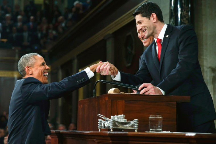 Image: U.S. President Obama s welcomed by House Speaker Ryan prior to delivering final State of the Union address to a joint session of Congress in Washington