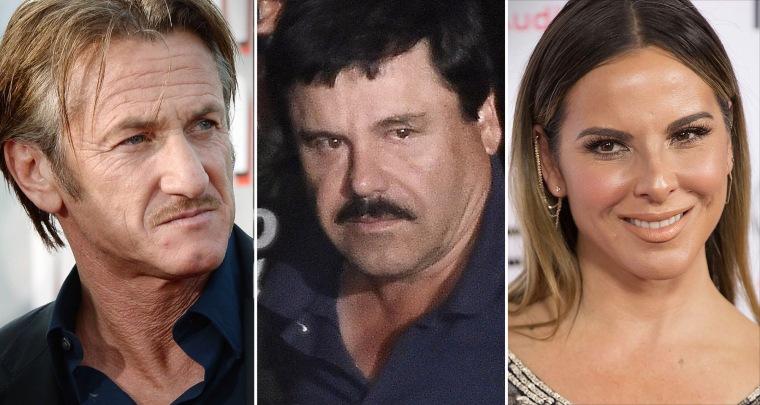 "Sean Penn, Joaquin ""El Chapo"" Guzman and actress Kate del Castillo"