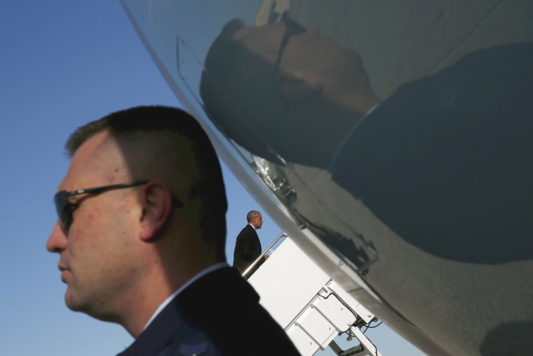 Image: U.S. President Barack Obama boards Air Force One for Nebraska and Louisiana at Joint Base Andrews in Maryland