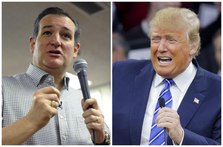 Image: A combination photo of U.S. Republican presidential candidates Donald Trump and Ted Cruz