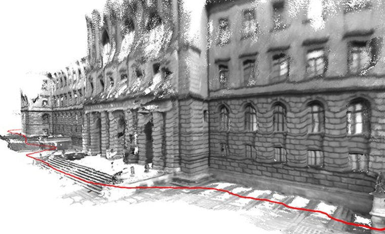 3-D model of ETH Zurich's main building created by a stroll by the facade (indicated by the red line).