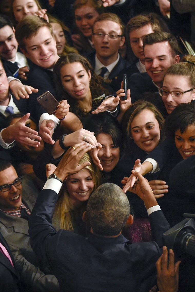 Image: President Barack Obama is greeted on the House floor on Capitol Hill
