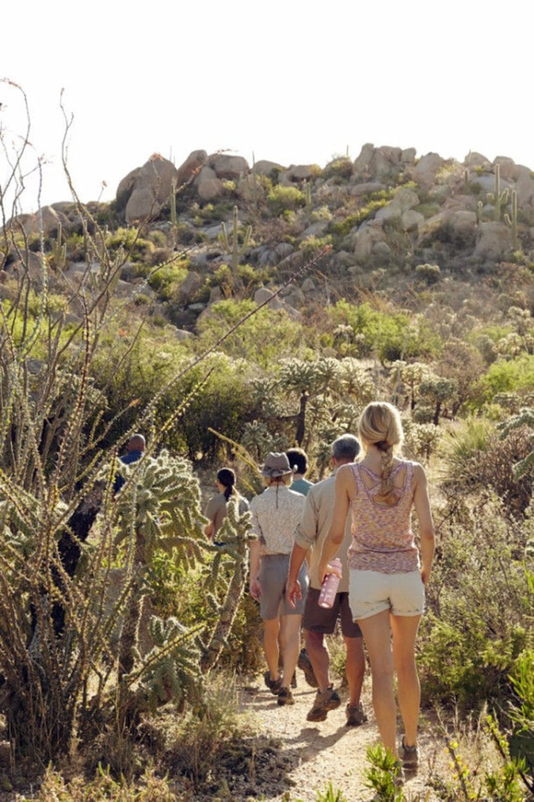 Guests at the Miraval Resort & Spa participate in a guided hike north of Tucson, Ariz. Miraval and many other spas are hosting corporate groups, meetings and organizations for team-building, wellness and other activities and services.