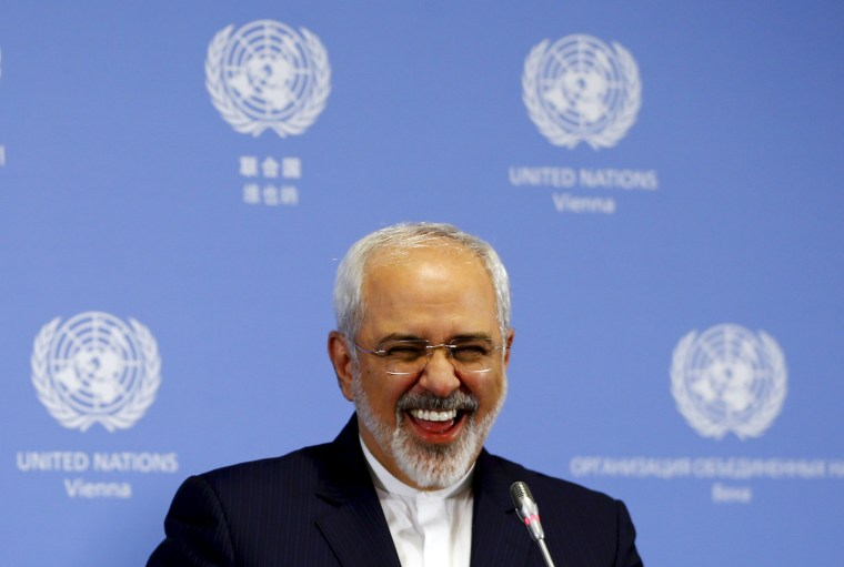 Image: Iranian Foreign Minister Zarif addresses a news conference at the United Nations building in Vienna