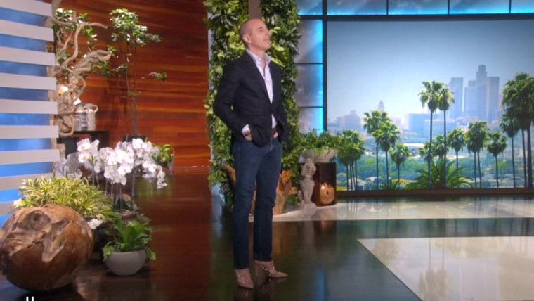 Matt Lauer on Ellen in high heels.