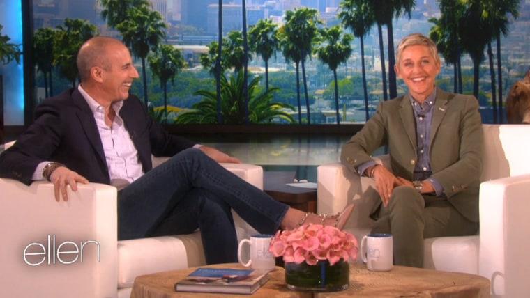 Matt Lauer wears high heels while speaking with Ellen DeGeneres.