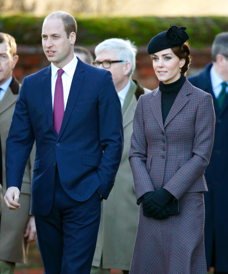 Prince William and Kate, Duchess of Cambridge, heading to a service at Sandringham
