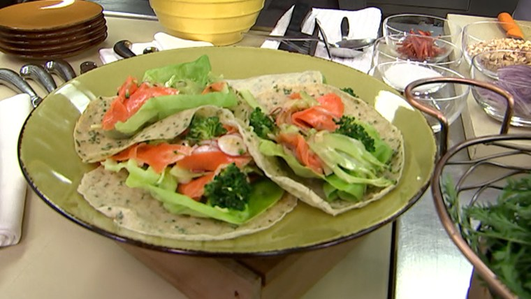 White House chef's shaved broccoli salad with chive crepes