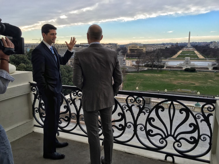 House Speaker Paul Ryan and Matt Lauer speak on the balcony of Ryan's office on Capitol Hill.