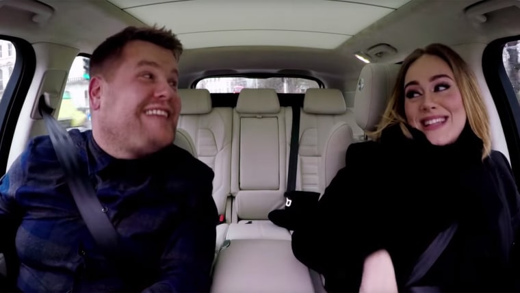 Adele sings with James Corden.