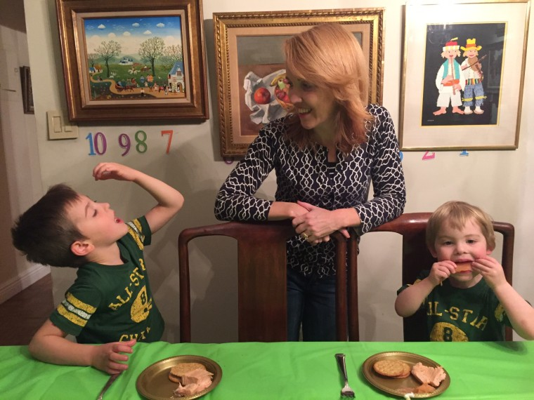 TODAY Parenting Editor Rebecca Dube with her two sons (and refrigerator raiders) Eli, 6, and Joseph, 2.