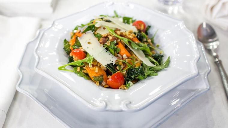 Al Roker makes a hearty, healthy farro and arugula salad with roasted carrots