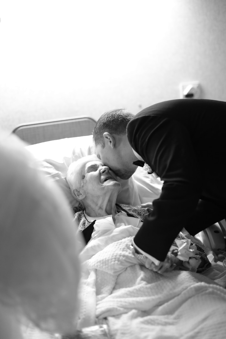 This grandma was in for a surprise when her grandson visited her in the hospital on his wedding day.