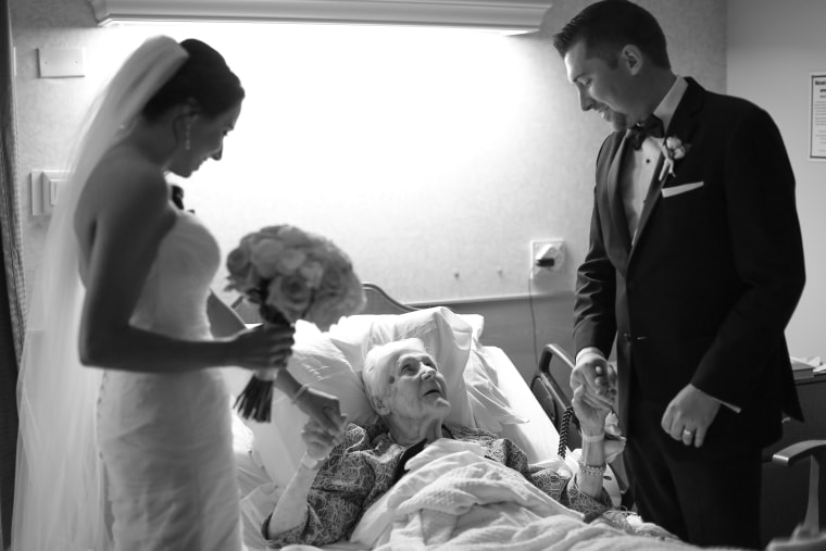 Grandmother gets a surprise visit from her grandson on his wedding day