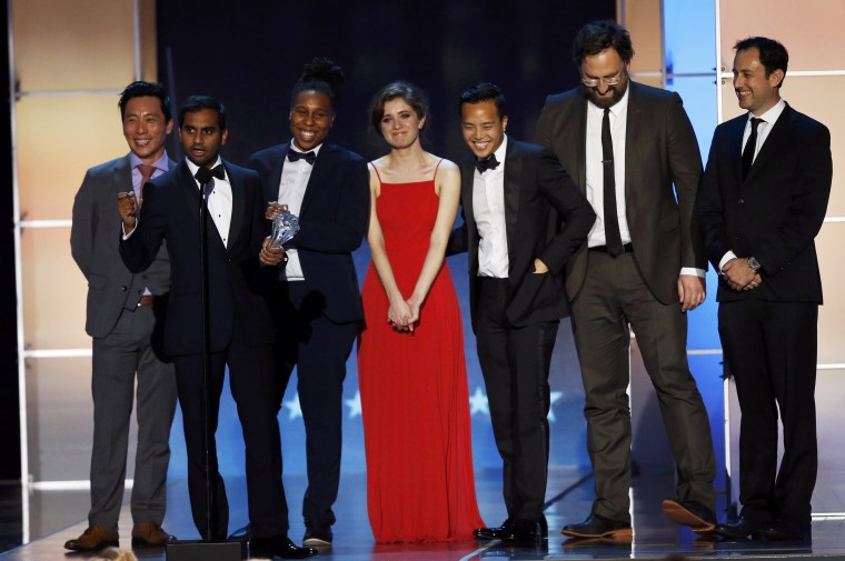 Image: Aziz Ansari accepts the award for Best Comedy Series during the 21st Annual Critics' Choice Awards in Santa Monica