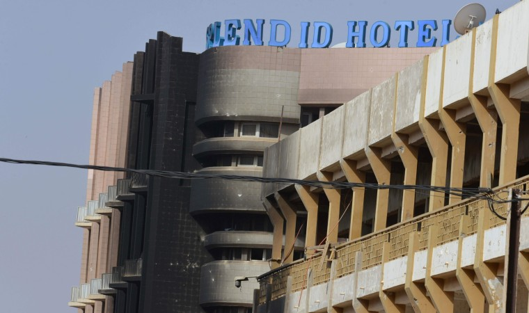 Image: The damaged facade of the Splendid hotel is seen