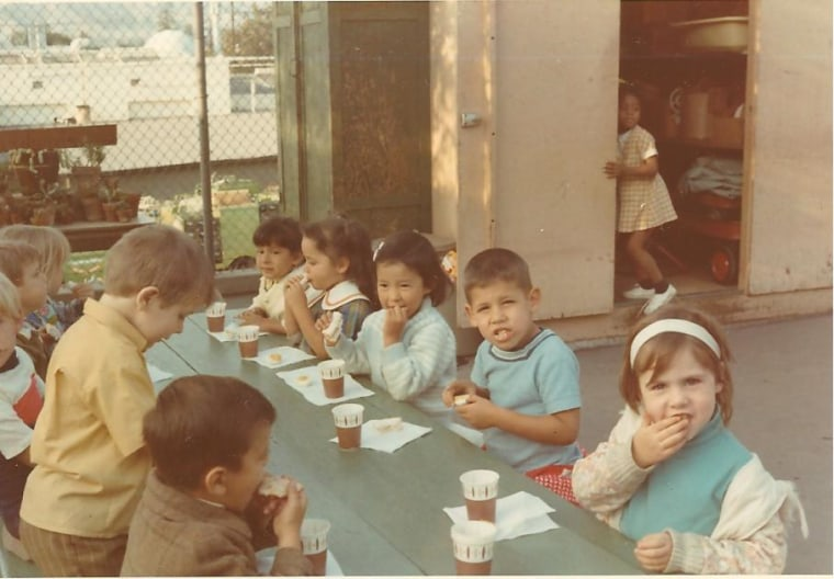 Frances Kai-Hwa Wang at snack time with her preschool classmates in California.