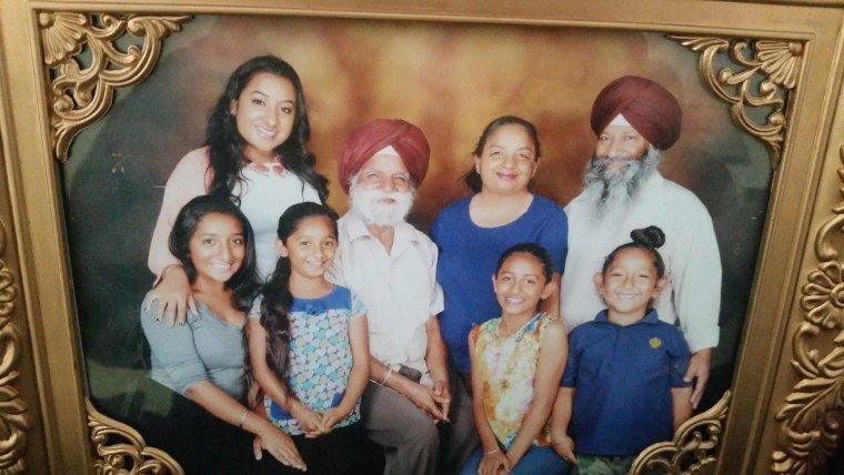 California Sikh-American bus driver Balwinder Jit Singh and his family.