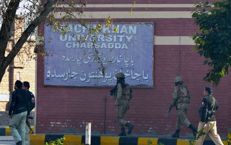 Image: Soldiers take part in search operations at the university