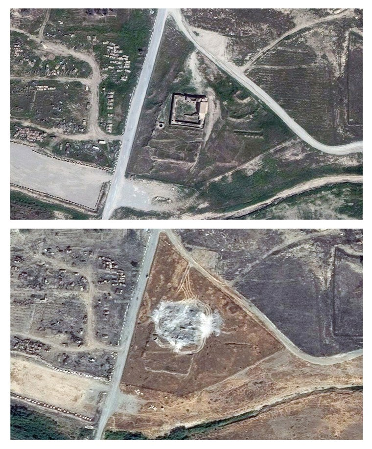 This combination of two satellite images provided by DigitalGlobe, taken on March 31, 2011, top, and Sept. 28, 2014, shows the site of the 1,400-year-old Christian monastery known as St. Elijah's, or Dair Mar Elia, on the outskirts of Mosul, Iraq.  The photo confirm what church leaders and Middle East preservationists had feared: The monastery has been reduced to a field of rubble, yet another victim of the Islamic State's relentless destruction.
