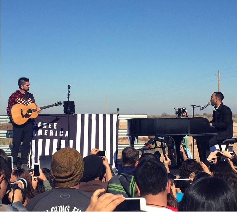 Juanes and John Legend performed outside of the Eloy Detention Center in Arizona.