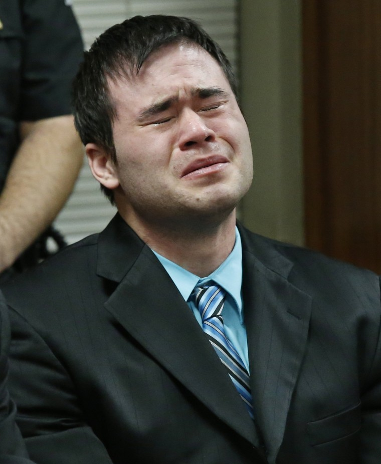 Image: Daniel Holtzclaw cries as the verdicts are read in his trial in Oklahoma City