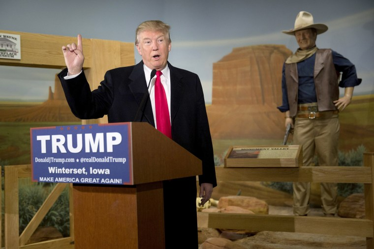 Image: Republican presidential candidate Donald Trump speaks at the John Wayne Birthplace Museum