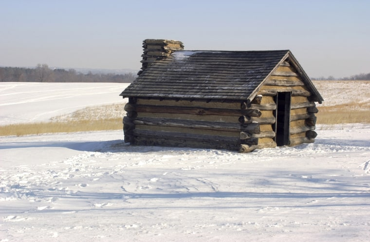 Valley Forge soldiers' hut in winter