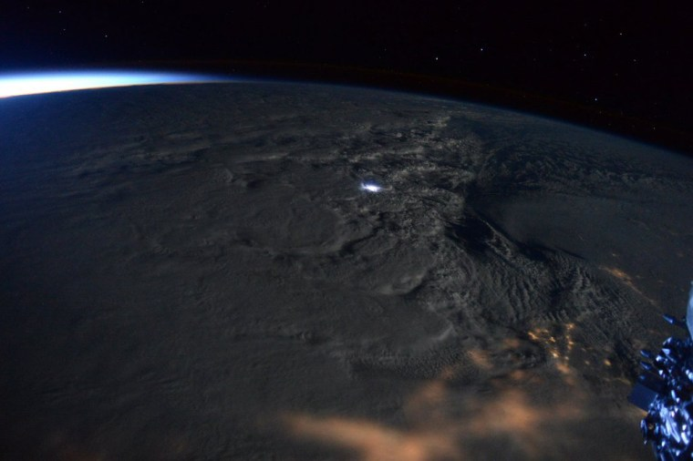 A massive snowstorm churns over the East Coast of the United States on Jan. 23.