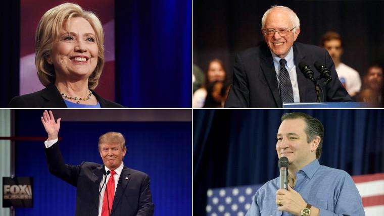 Hillary Clinton, Bernie Sanders, Ted Cruz and Donald Trump
