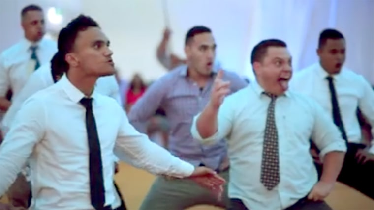 Maori haka being performed at a New Zealand wedding