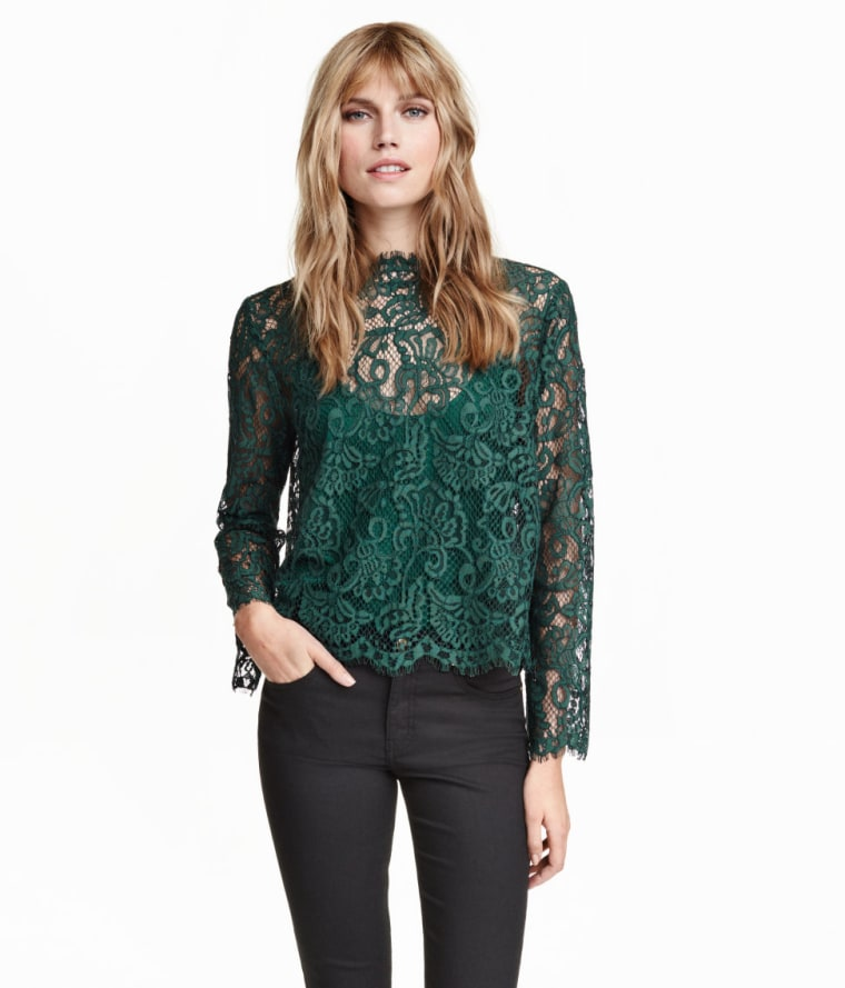 H&M green lace blouse
