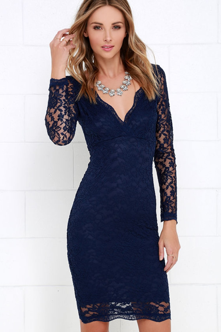 Lulu's navy lace dress