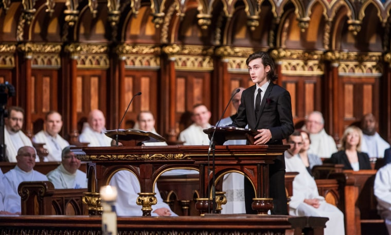 Rene-Charles Angelil, son of Celine Dion and Rene Agelil, speaks during the funeral of his father Rene Angelil at Notre-Dame Basilica on January 22, 2016 in Montreal, Canada.