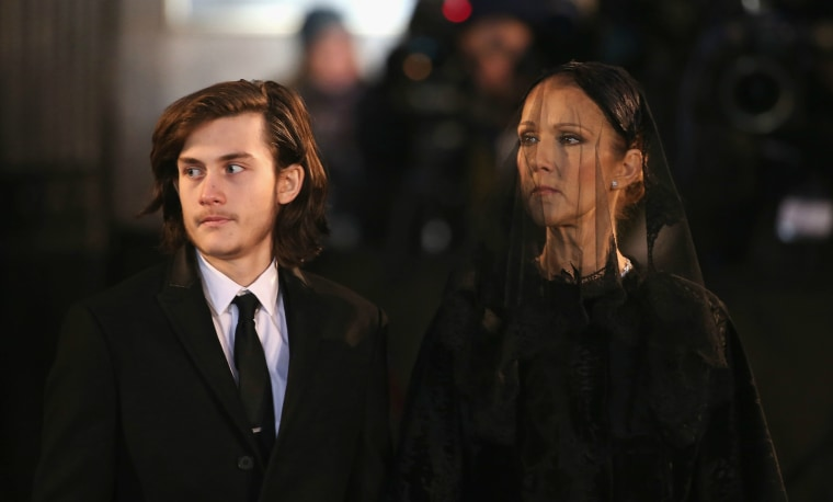 Rene-Charles Angelil and recording artist Celine Dion attend the State Funeral Service for Celine Dion's husband, Rene Angelil, at Notre-Dame Basilica on January 22, 2016 in Montreal, Canada.