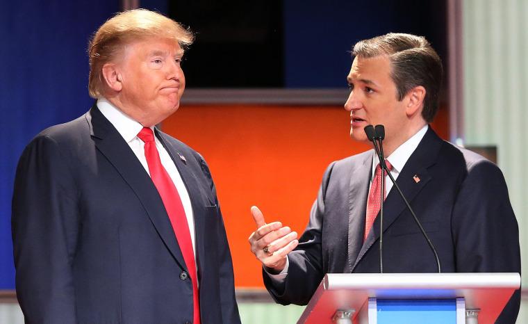 Image: Republican presidential candidates Donald Trump and Sen. Ted Cruz