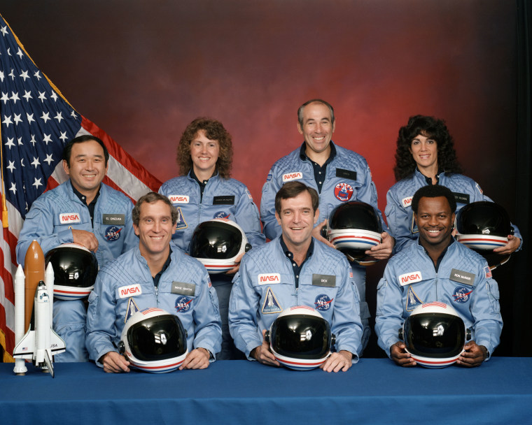 The crew of the space shuttle Challenger is seen in this 1986 file photo released by NASA. From left to right: Ellison Onizuka, Mike Smith, Christa McAuliffe, Dick Scobee, Greg Jarvis, Ron McNair and Judy Resnick.