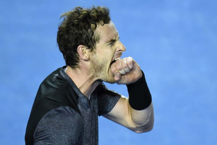 Image: Andy Murray of the United Kingdom reacts during his fourth round match against Bernard Tomic