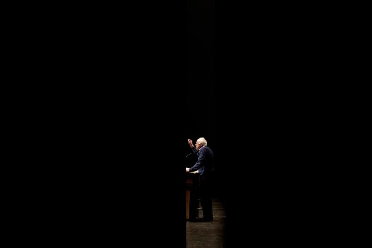 Image: Bernie Sanders speaks at a campaign event